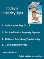 Publicity Tips–Indie Author Day Oct. 8