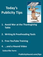Publicity Tips–Avoid War at the Thanksgiving Table