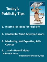 Publicity Tips–Income Tax Ideas for Publicity