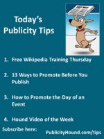 Publicity Tips–Free Wikipedia Training Thursday