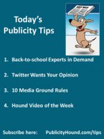 Publicity Tips–Back-to-school Experts in Demand