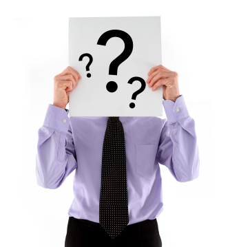 Man with sign with question marks in front of head