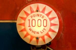 bumper sign: 1,000 points when lit