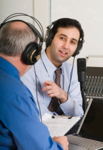 Radio host interviewing a guest