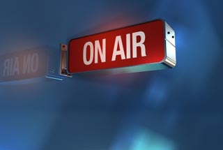 "Red ""on air"" radio sign"