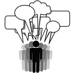 Group Speak - social network media people talk together in communication speech bubbles2