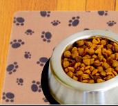 Washable mat under a dog dish
