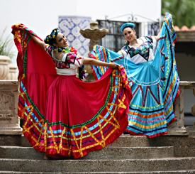 Mexican dancers in colorful dresses