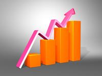 orange bar chart showing business growth
