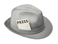 "Man's hat with ""press"" pass"