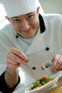 Chef garnishing