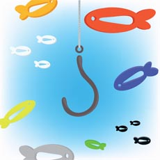 illustration of colored fish swimming around a fisherman's hook