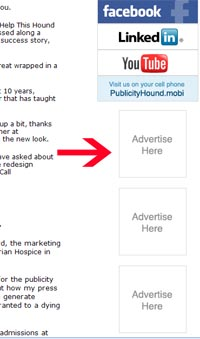 ad space in The Publicity Hound newsletter