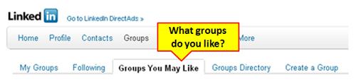 LinkedIn Groups menu bar