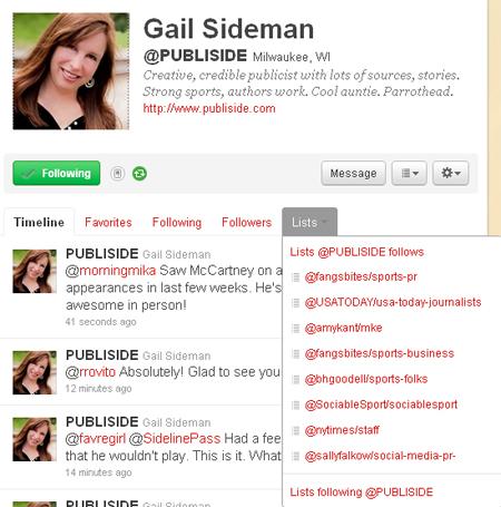 Gail Sideman's lists on Twitter