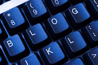 BLOG spelled out on a blue keyboard