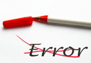 The rod Error crossed out in red felt-tip pen