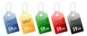 five price tags that say Only $9.95