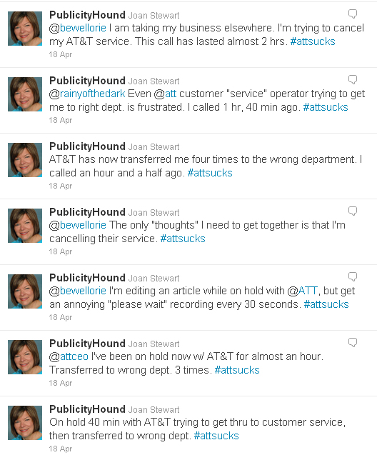 Publicity Hond's twitter stream about AT&T's bad service