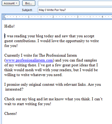 Emqil request for a guest blog post for The Publicity Hound blogR