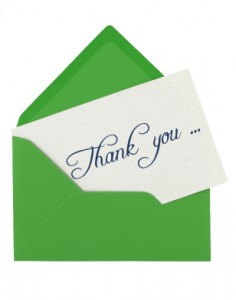 thank you note for a blogger or journalist