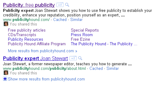 "Joan Stewart #1 and #2 on Google for ""publicity expert"""