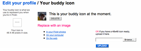 Edit your profile/Your buddy icon instrucitons on Flickr