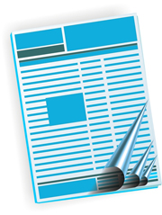 Layout of a magazine page, in blue and white