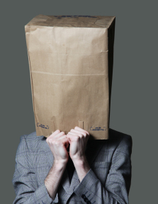 brown paper bag over head