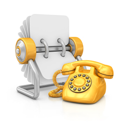 rolodex of media contacts with yellow phone