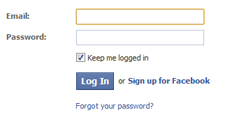 facebook login box