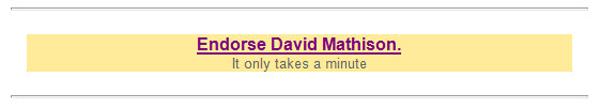 Dave Mathison requst for endorsement on LinkedIn