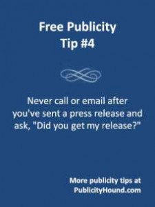 free publicity tip on press release follow up calls