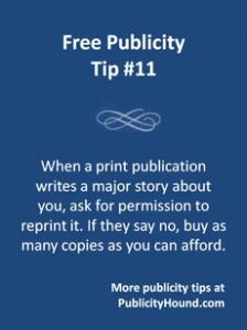 Free Publicity Top #11 on reprint rights