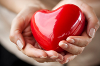 Woman's hands holding a red plastic heart