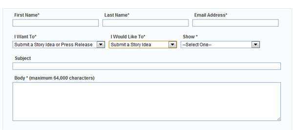 national public radio's Contact Us form