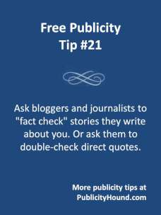 Free Publicity Top 21--Ask for a fact check