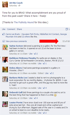 comments at artbizcoach's facebook page on bragging