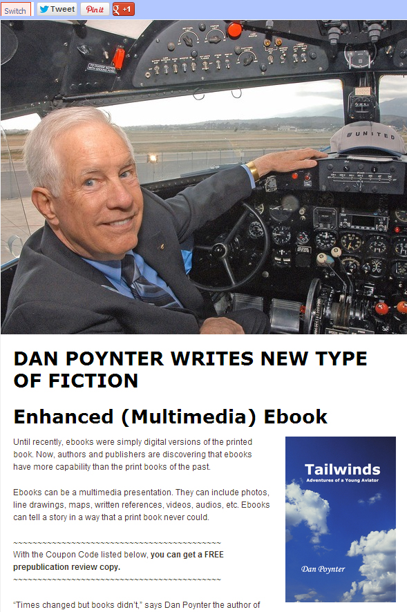 dan poynter in cockpit of plane for multimedia ebook promotion