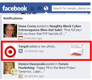 target's notification on Joan Stewart's Facebook profile