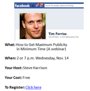 tim ferriss free publicity tips