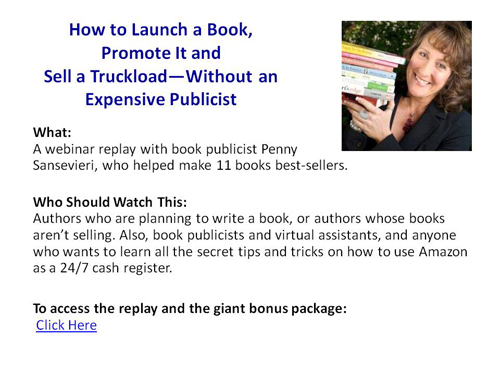 Penny Sansevieri showing how to launch and promote a boook
