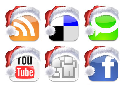icons--social media buttons with santa hats