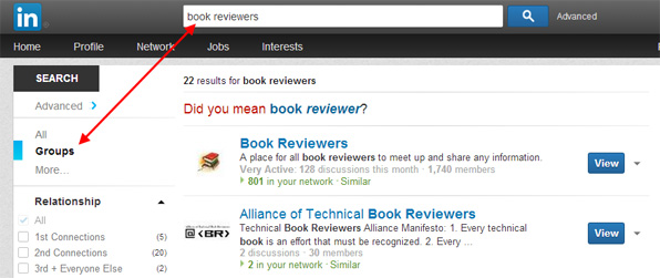 How to find Groups of book reviewers on LinkedIn by searching Groups