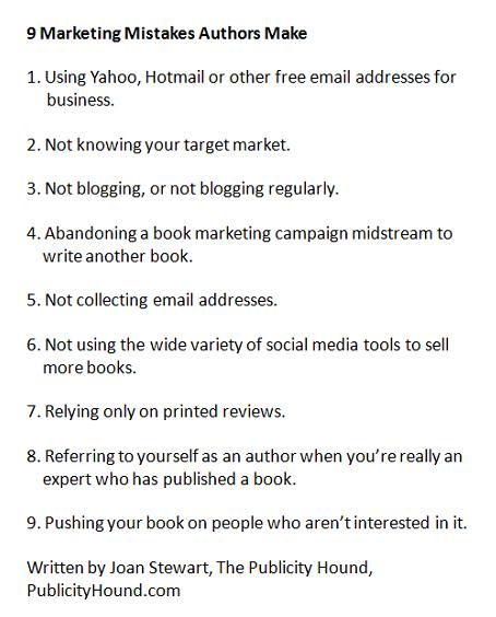 9 Marketing Mistakes Authors Make