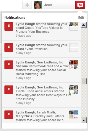 Pinterest notifications