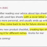 Debbie Williams tips list blog comment 596