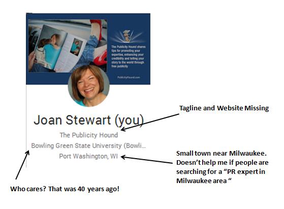 """Before"" version of Joan Stewart's Google+ hovercard"