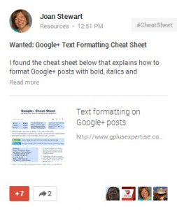 Wanted: Google Plus Cheat Sheet