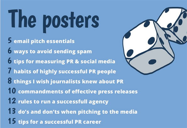 List of 9 PR topics listed separately on office posters